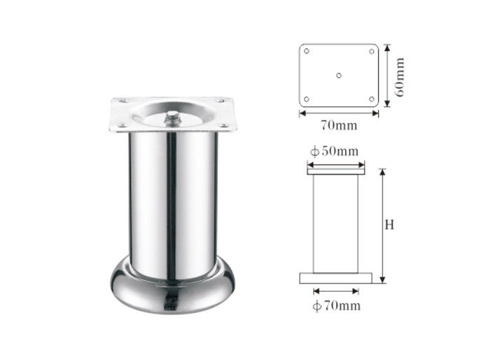 Matte Nickel Modern Table Legs 70mmx50mm Furniture Feet Strong Design